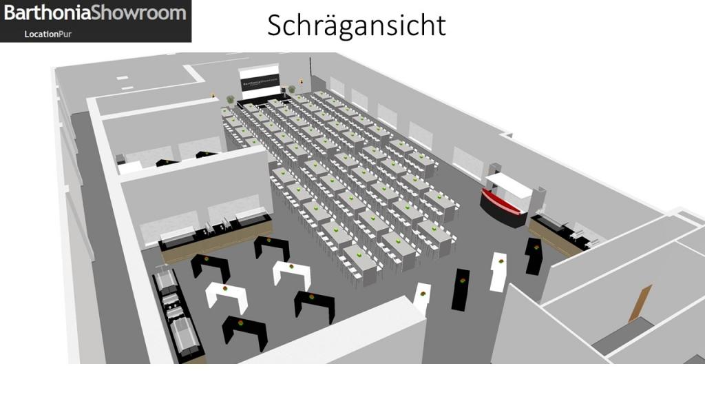 Schrägansicht_Bestuhlung mit Stehtischen_Barthonia_Showroom_27.04.2015